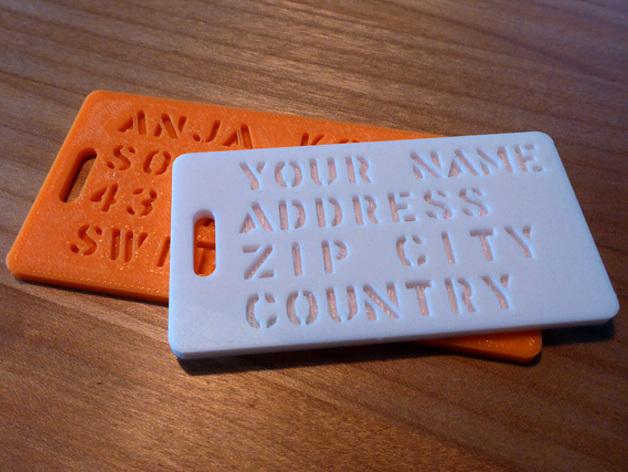 参数化行李标签  3D打印模型渲染图