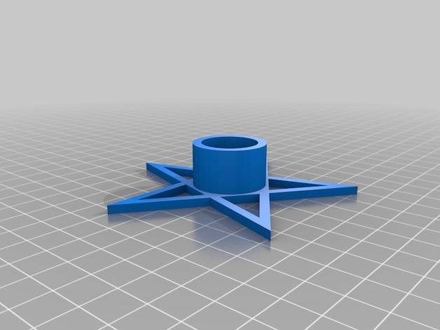 五角星形烛台 3D打印模型渲染图