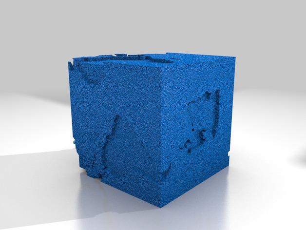 立方体地球模型 3D打印模型渲染图