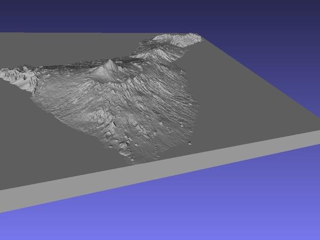 特那利夫岛地形图模型
