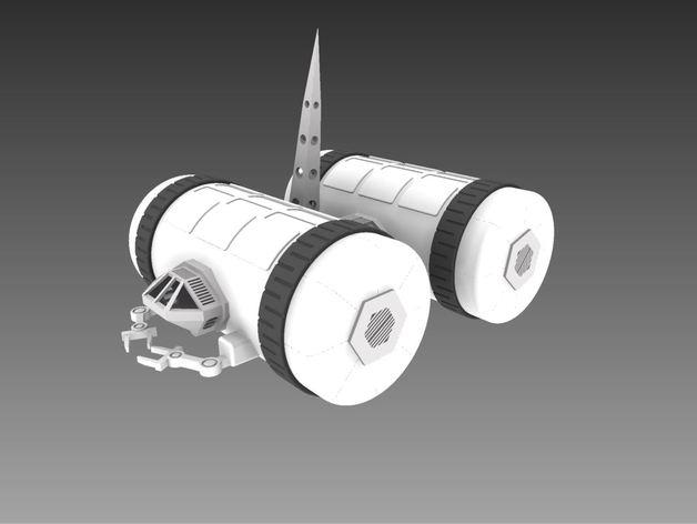 模块化移动火星基地 3D打印模型渲染图