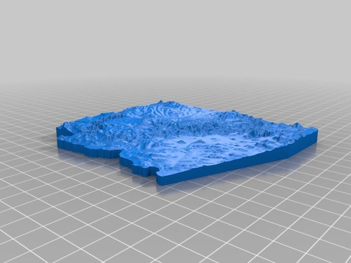 亚利桑那州地形图 3D打印模型渲染图