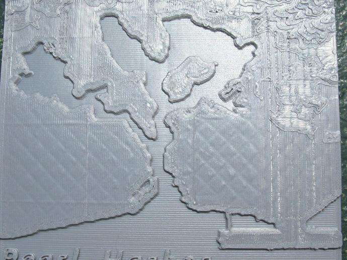 珍珠港和欧胡岛地形图模型 3D打印模型渲染图