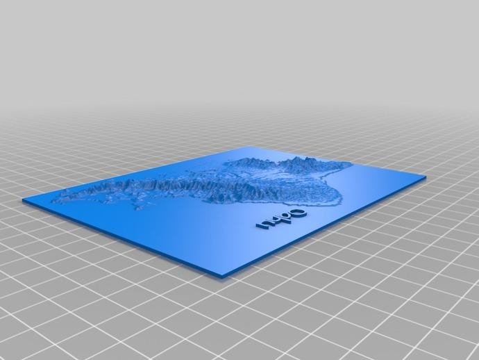 珍珠港和欧胡岛地形图模型