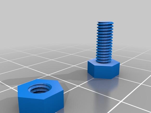 螺丝钉和螺母 3D打印模型渲染图