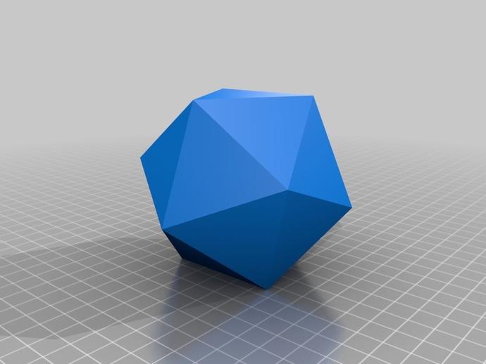 二十面体 几何体  3D打印模型渲染图