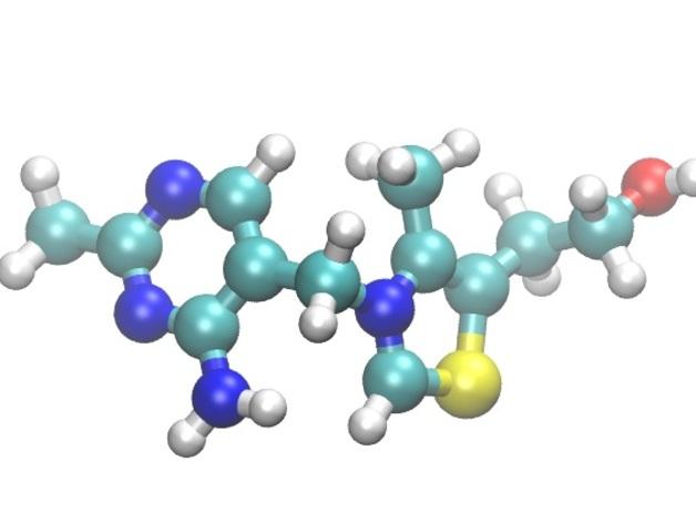 硫胺素分子模型 3D打印模型渲染图