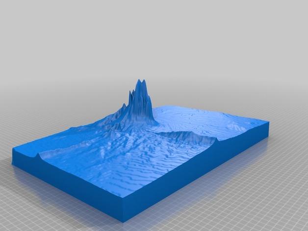 Shiprock火山塞地形图模型