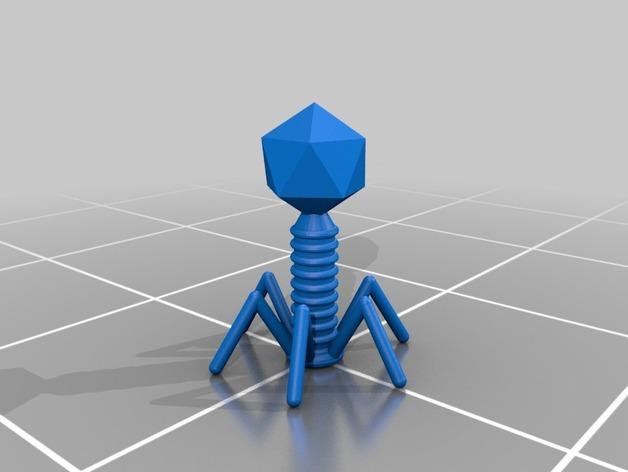T2 噬菌体病毒模型 3D打印模型渲染图