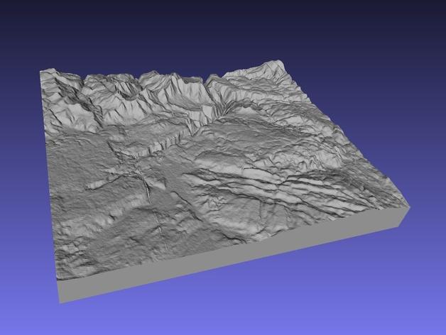 黄石公园地形图模型