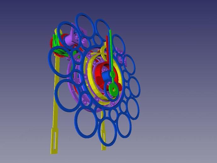 大摆钟 齿轮钟 3D打印模型渲染图