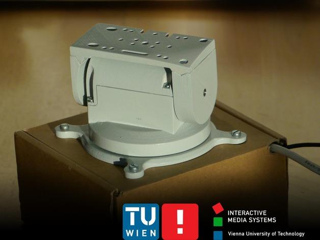 摄像头和小型DSLR的360度轮盘和倾斜头 3D打印模型渲染图