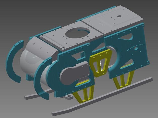TimROV-一个开源远程追踪操作控制四轮车 3D打印模型渲染图