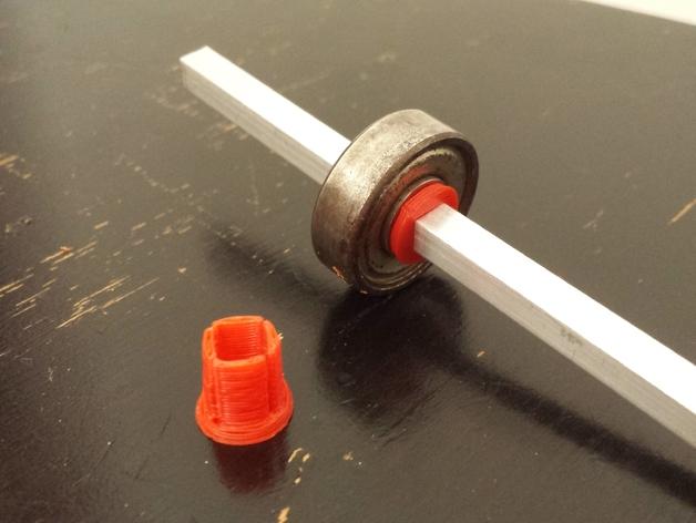 5mm方形滑板承接轴保护套 3D打印模型渲染图