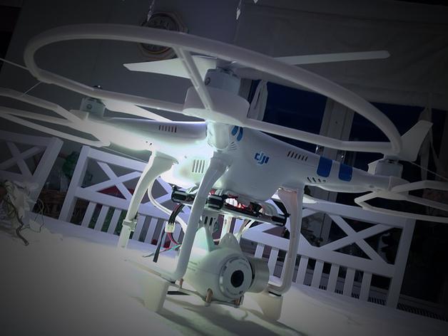Dji Phantom Snap飞行器的螺旋桨保护架 3D打印模型渲染图