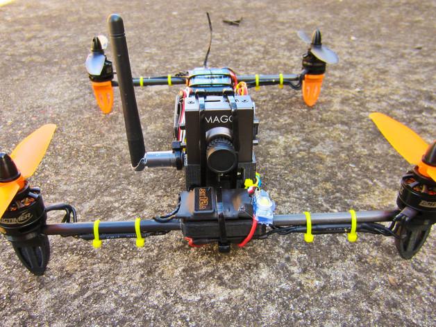 迷你H-Quad四轴飞行器 碳杆机身 3D打印模型渲染图