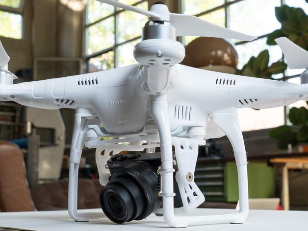 DJI Phantom 2的松下GM1照相机固定槽 3D打印模型渲染图