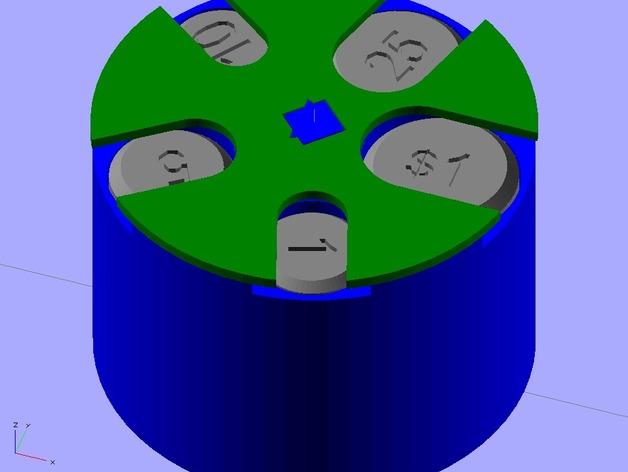 可定制硬币存储盒 3D打印模型渲染图