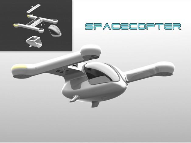 Spacecopter四轴飞行器 3D打印模型渲染图