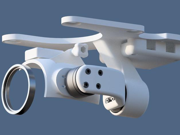 DJI Phantom 2摄像机两轴平衡环 3D打印模型渲染图