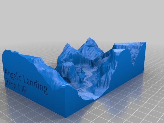 峡谷国家公园地形图 3D打印模型渲染图