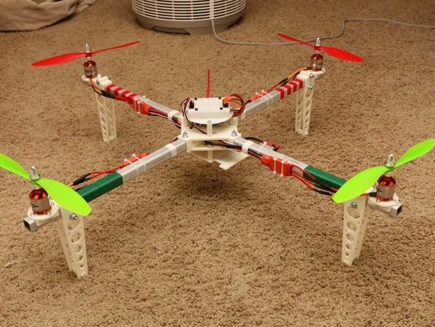 四轴飞行器 方形管 3D打印模型渲染图