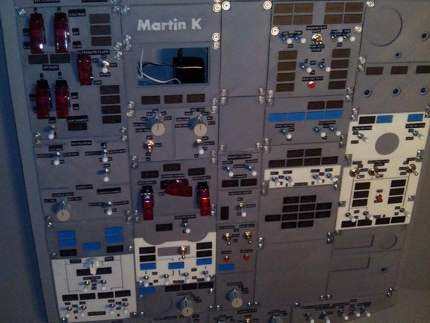 波音737飞机仪表盘面板 3D打印模型渲染图