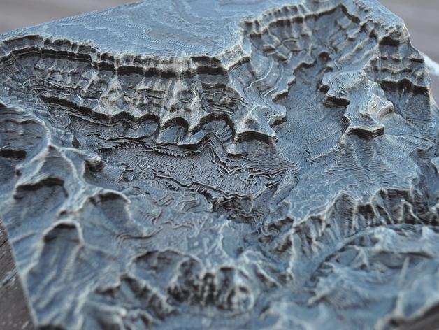 大峡谷南部区域 地形图 3D打印模型渲染图