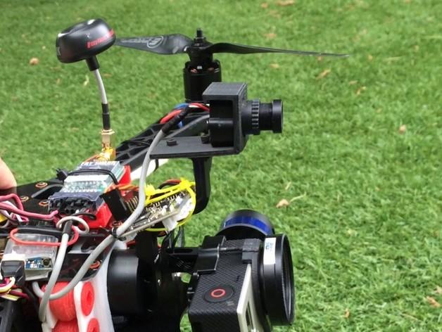 Tarot T-2D多轴飞行器 Fat Shark 600TVL相机架 3D打印模型渲染图