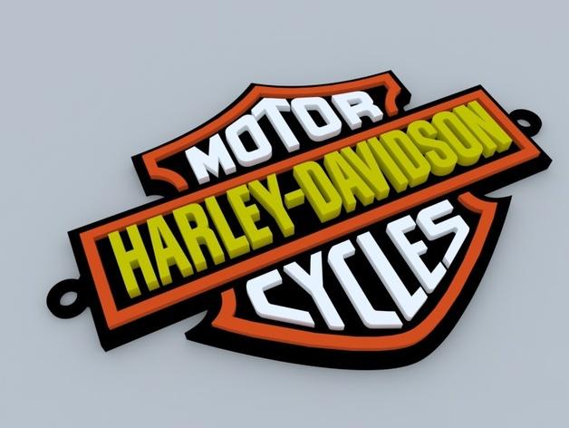 哈雷戴维森 摩托车标志 3D打印模型渲染图