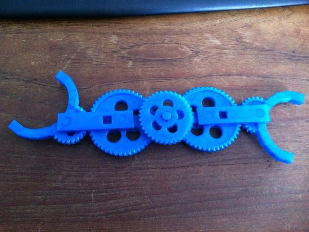 轮式机器人转向系统 3D打印模型渲染图