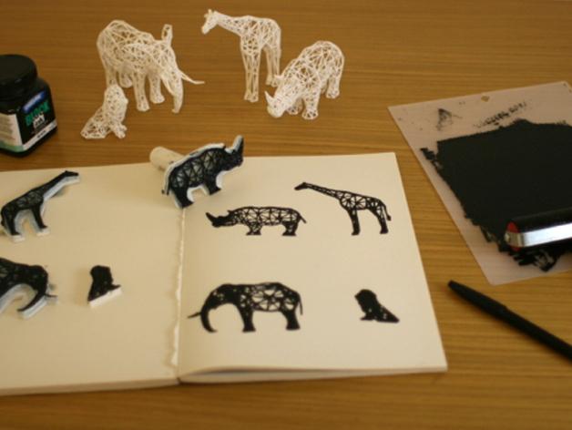 数字化动物邮票 3D打印模型渲染图