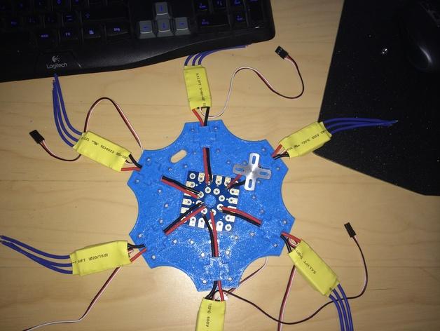 六轴飞行器 中心板 3D打印模型渲染图
