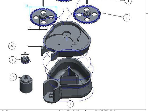 手摇发电机 3D打印模型渲染图