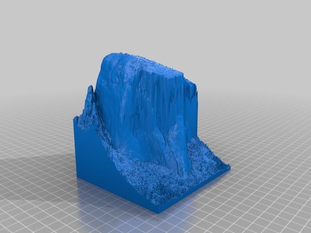 约塞米蒂国家公园 埃尔卡皮坦山脉地形图 3D打印模型渲染图