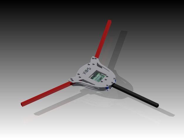 多轴飞行器蝶形尾部 3D打印模型渲染图