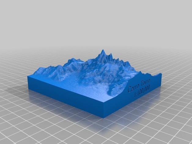 托雷峰地形图 3D打印模型渲染图