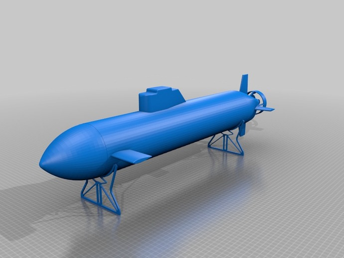 自制RC潜水艇 3D打印模型渲染图