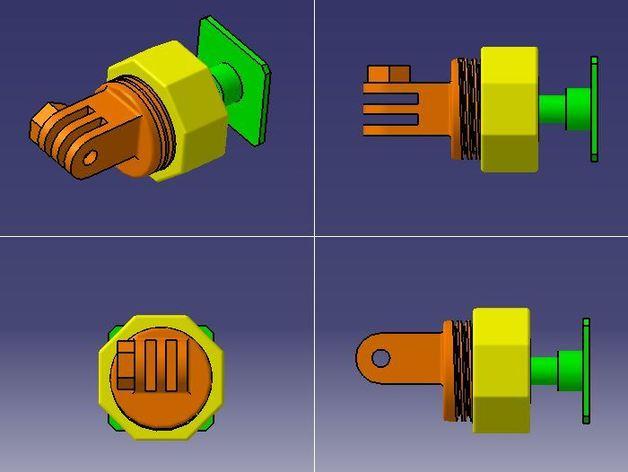 GoPro固定旋转槽 3D打印模型渲染图