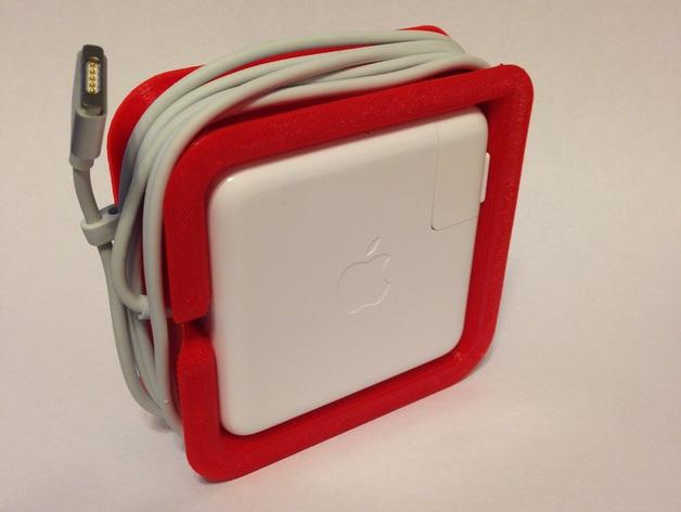 苹果笔记本电脑60瓦充电器绕线器 3D打印模型渲染图