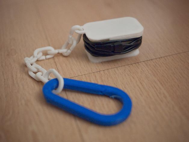 耳机收纳器 钥匙扣 3D打印模型渲染图