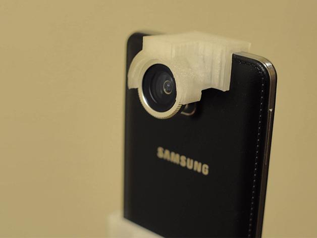 三星 Note 3手机鱼眼镜头支架 3D打印模型渲染图
