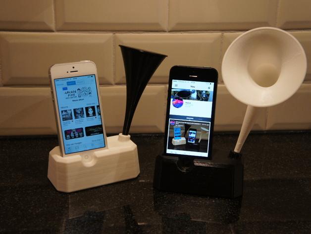 Iphone 4, 4S, 5 ,5s手机扩音器支架 3D打印模型渲染图
