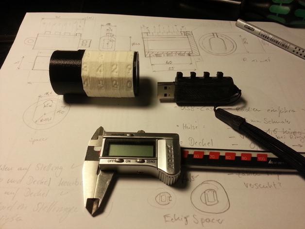 USB密码筒 密码轴 3D打印模型渲染图
