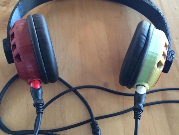 立体音头戴式耳机 3D打印模型渲染图