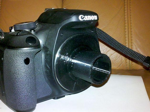 """佳能Eos EF 对 1,25"""" 显微镜或望远镜的适配器 3D打印模型渲染图"""