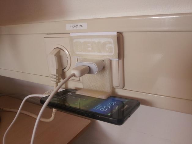 墙体插座手机支架 3D打印模型渲染图