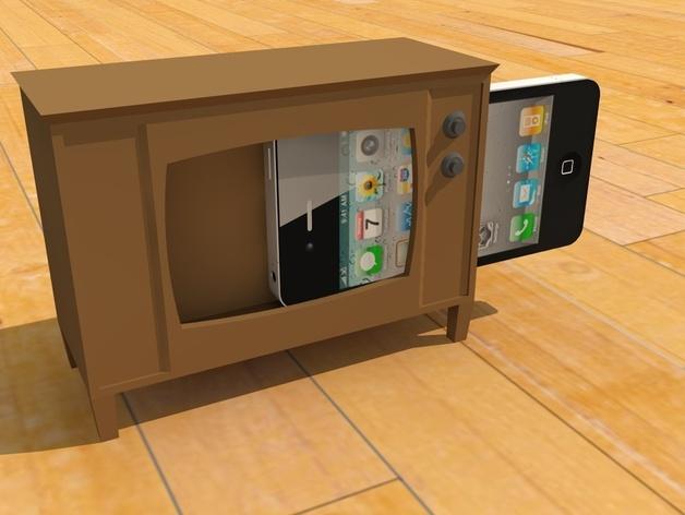 iPhone手机支架 电视 3D打印模型渲染图