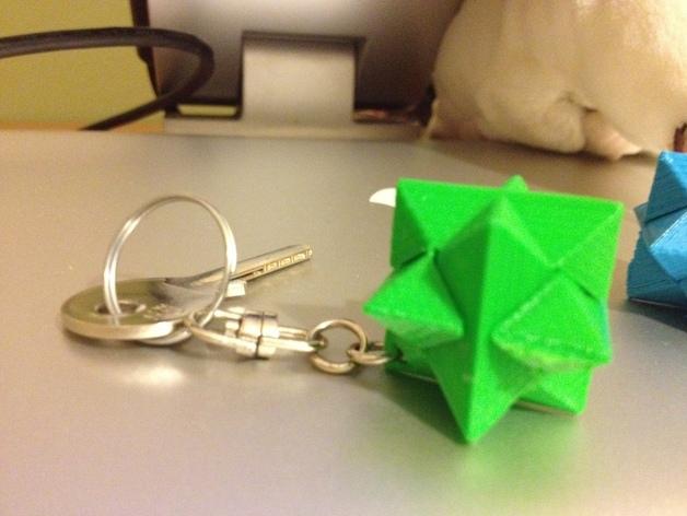 多边形钥匙扣装饰品 3D打印模型渲染图