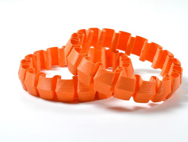 个性化灵活手环 3D打印模型渲染图